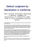 Default judgment by declaration in California article