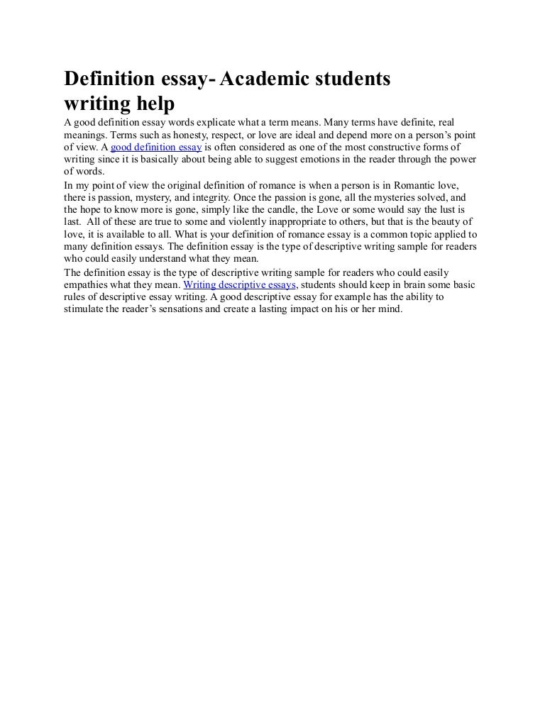 Help with definition essay?