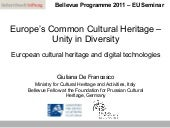 Europe's Common Cultural Heritage –...