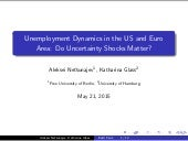 Aleksei Netsunajev, Katharina Glass. Unemployment Dynamics in the US and Euro Area: Do Uncertainty Shocks Matter?