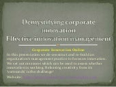 Demystifying corporate innovation. ...