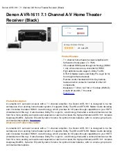Denon AVR-1611 71 Channel AV Home T...