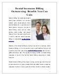 Dental insurance billing_outsourcing