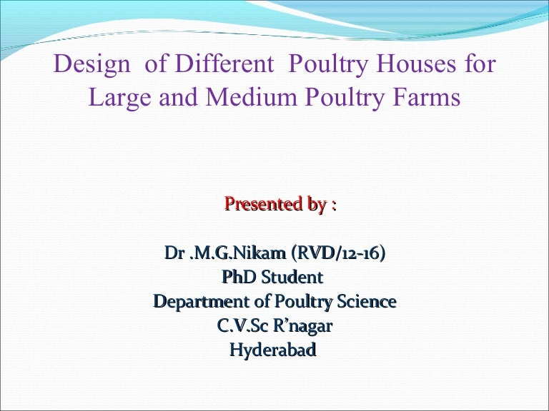Poultry House Design Design of Poultry Houses