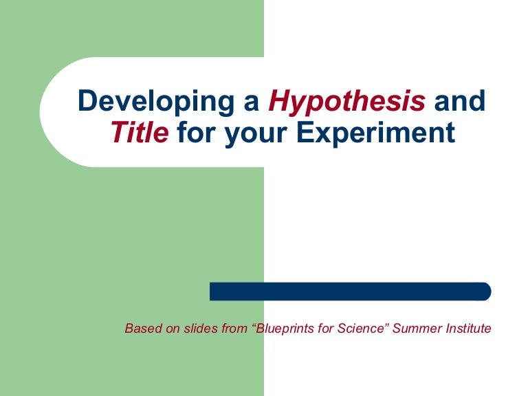 Hypothesis development in research