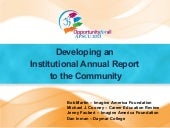 Developing a Institutional Annual Report to the Community