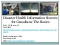 Disaster Health Information Sources for Canadians