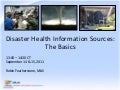 Webinar - Disaster Health Information Sources: The Basics
