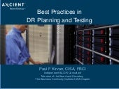 Best Practices in Disaster Recovery Planning and Testing