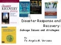 Disaster Response and Recovery: Salvage Issues and Concerns