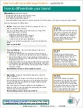 """How to Differentiate"" Worksheet (by Denise Lee Yohn)"