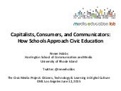 Capitalists, Consumers, and Communicators: How Schools Approach Civic Education