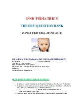 DNB PEDIATRICS THEORY QUESTION BANK...