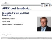 APEX und JavaScript - Beispiele, Pattern und Best Practices