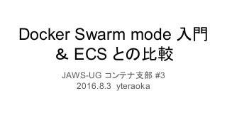 Docker swarm mode 入門と ECS との比較