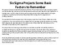Document sharing10sepsix sigma projects some basic factors to remember jjj