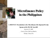 Microfinance Policy in the Philippines