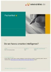 Do we have a creative intelligence?