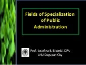 Field of Specialization of Public A...