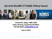 Health IT and Public Policy Issues ...