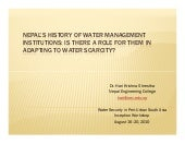Nepal's history of water management...