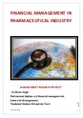 Financial Management in Pharmaceutical industry