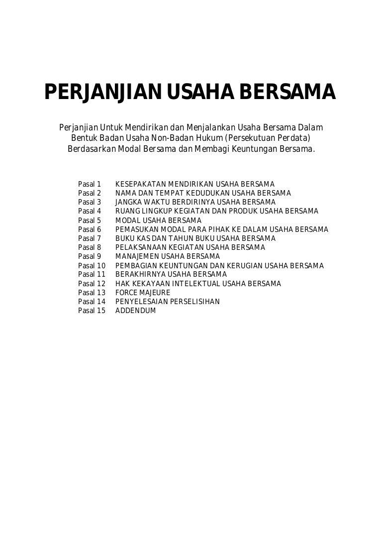 Contoh Surat Perjanjian Terbaru 2015