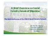 A Brief Overview on Social Forestry Issues of Myanmar