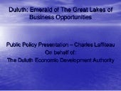 Duluth Economic Development Public Policy Presentation