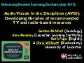 AudioVisuals In the Disciplines: Developing libraries of recommended TV and radio-based resources