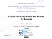 E-Democracy Lessons Slovenia Delakorda