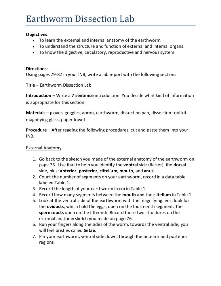 Earthworm dissection lab report