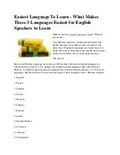 Easiest language to learn   what ma...