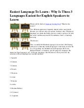 Easiest language to learn   why is ...