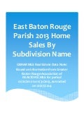 East Baton Rouge Parish 2013 Home Sales By Subdivision Name