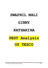 PEST ANALYSIS OF TESCO