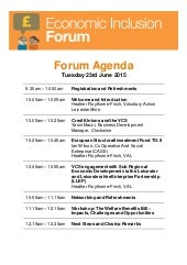Final Economic Inclusion VCS Forum Agenda