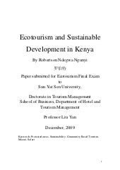 Ecotourism and sustainable developm...