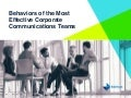 Behaviors of the Most Effective Corporate Communications Teams