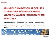 Advanced oxidation processes to recover reverse osmosis cleaning waters