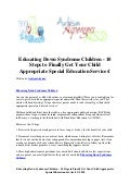 Educating down syndrome children   10 steps to finally get your child appropriate special education services