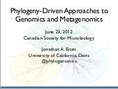 """Phylogeny-driven studies in genomi..."