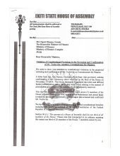 19 Ekiti State House of Assembly Members Letter