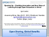Opening Up – Enabling Innovation and New Ways of Learning through Open Education in Africa
