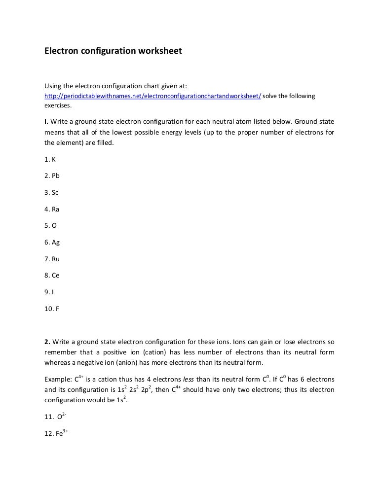 Worksheet Electron Configuration Worksheet electron configuration worksheet