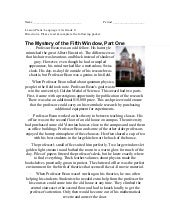 The Mystery of the Fifth Window Par...