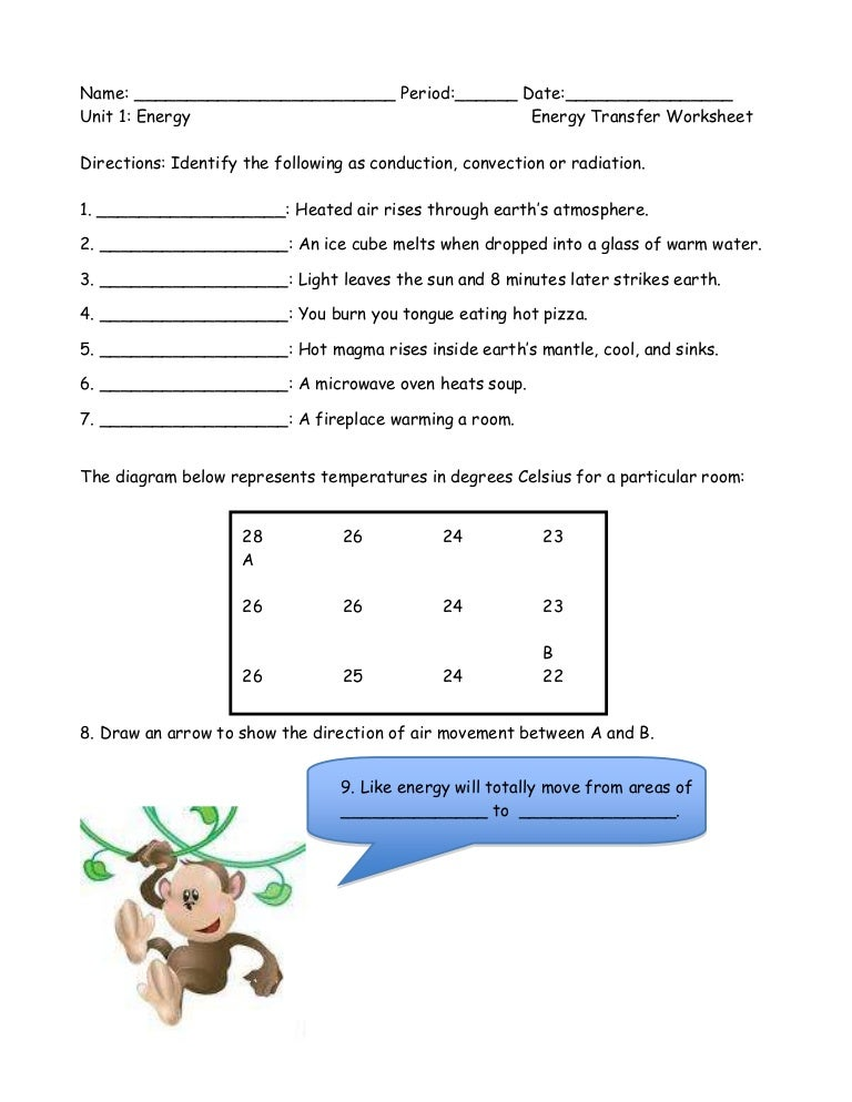 Energy Transfer Worksheet Answers - Worksheets