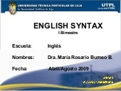 English Syntax Primer Bimestre