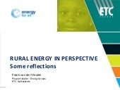 Rural energy considerations (for FM...
