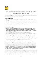 Eni Interim Consolidated Report, Ju...